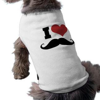 I Love Mustache Sleeveless Dog Shirt