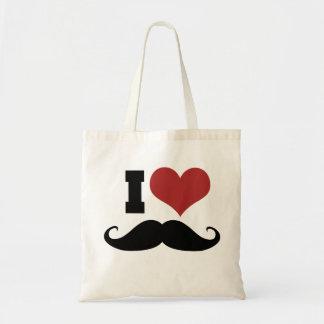 I Love Mustache Tote Bags