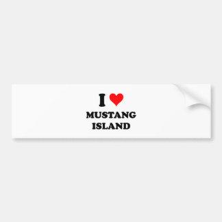 I Love Mustang Island Texas Bumper Sticker