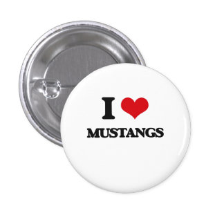I Love Mustangs 3 Cm Round Badge