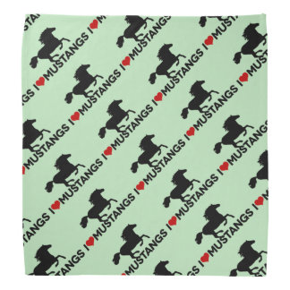 I Love Mustangs - Bandana - Green