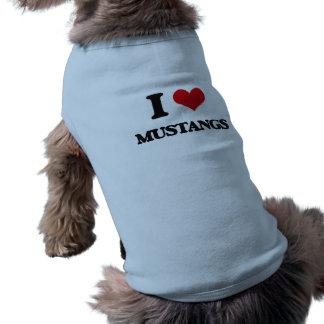 I Love Mustangs Sleeveless Dog Shirt