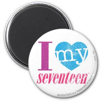 I Love My 17 Aqua 6 Cm Round Magnet