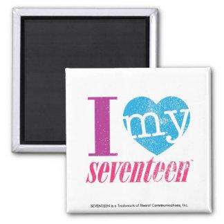 I Love My 17 Aqua Square Magnet