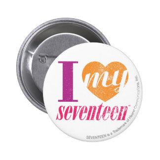 I Love My 17 Orange 6 Cm Round Badge
