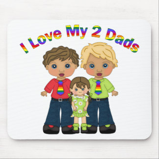 I Love My 2 Dads Gay Father's Day Tees and Gifts Mouse Pad