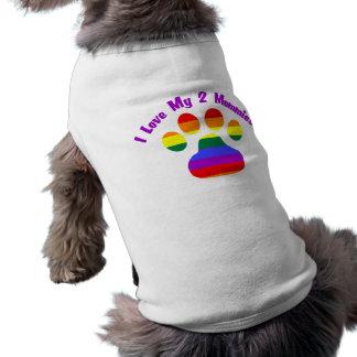 I Love My 2 Mommies Sleeveless Dog Shirt