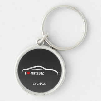 I Love my 350Z w/ faux Carbon fiber Silver-Colored Round Key Ring