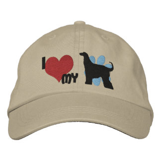 I Love my Afghan Hound Embroidered Hat