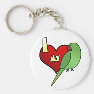 I Love my African Ringneck Parakeet Keychains