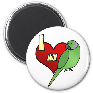 I Love my African Ringneck Parakeet 6 Cm Round Magnet