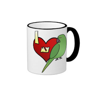 I Love my African Ringneck Parakeet Ringer Coffee Mug