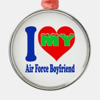 I love my Air Force Boyfriend Round Metal Christmas Ornament