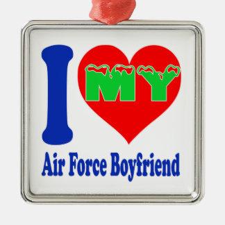 I love my Air Force Boyfriend Square Metal Christmas Ornament