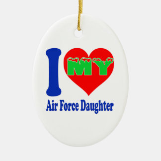 I love my Air Force Daughter Double-Sided Oval Ceramic Christmas Ornament