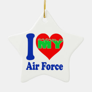 I love my Air Force Double-Sided Star Ceramic Christmas Ornament