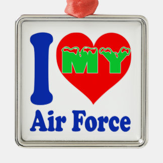 I love my Air Force Square Metal Christmas Ornament