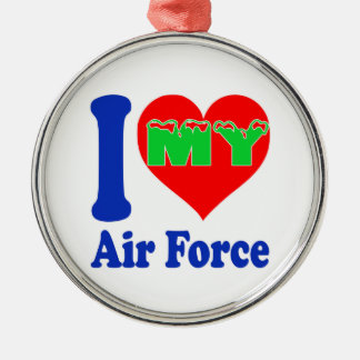 I love my Air Force Round Metal Christmas Ornament