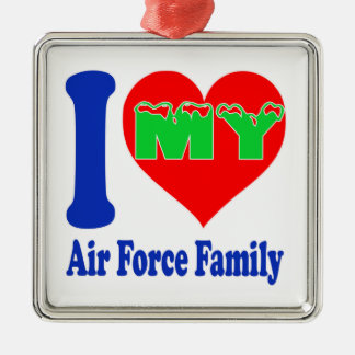 I love my Air Force Family Silver-Colored Square Decoration