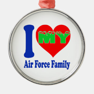 I love my Air Force Family Round Metal Christmas Ornament