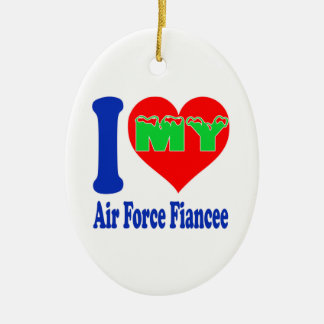 I love my Air Force Fiancee. Double-Sided Oval Ceramic Christmas Ornament