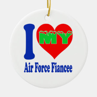I love my Air Force Fiancee. Double-Sided Ceramic Round Christmas Ornament