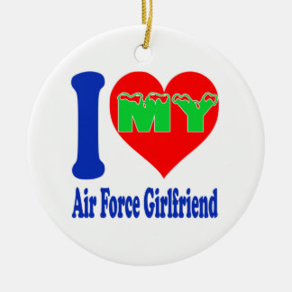 I love my Air Force Girlfriend. Double-Sided Ceramic Round Christmas Ornament