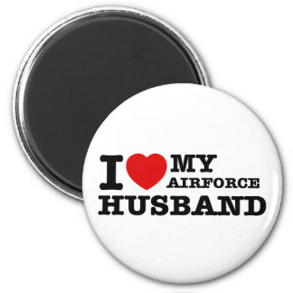 I love my air force husband 6 cm round magnet