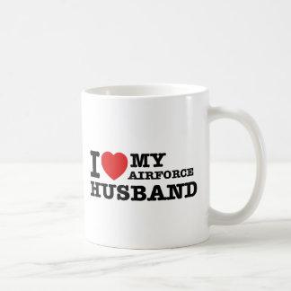 I love my air force husband basic white mug