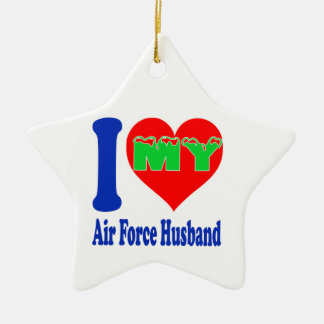 I love my Air Force Husband. Double-Sided Star Ceramic Christmas Ornament