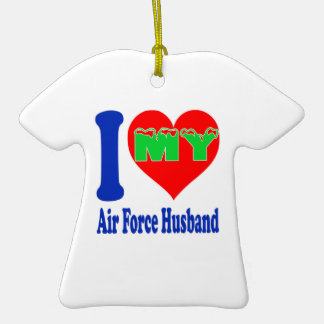 I love my Air Force Husband. Double-Sided T-Shirt Ceramic Christmas Ornament