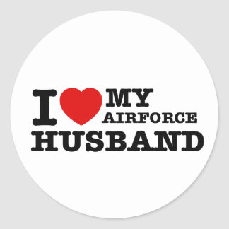 I love my air force husband round sticker