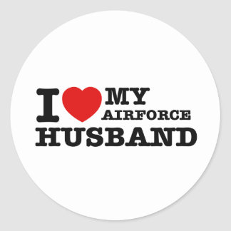 I love my air force husband round sticker