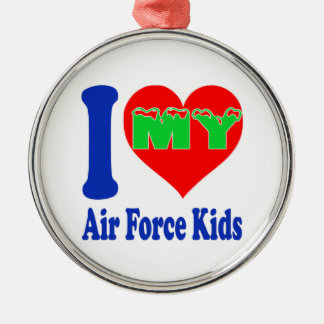 I love my Air Force Kids. Round Metal Christmas Ornament
