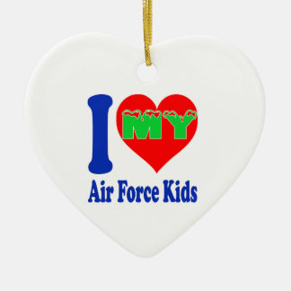 I love my Air Force Kids. Double-Sided Heart Ceramic Christmas Ornament