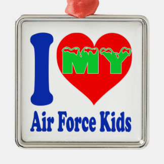 I love my Air Force Kids. Square Metal Christmas Ornament