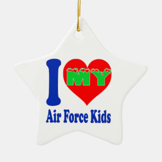 I love my Air Force Kids. Double-Sided Star Ceramic Christmas Ornament