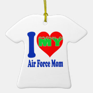 I love my Air Force Mom. Double-Sided T-Shirt Ceramic Christmas Ornament