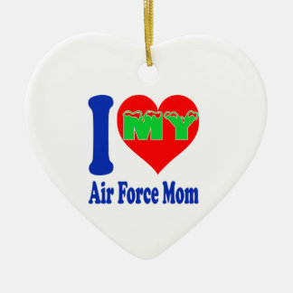 I love my Air Force Mom. Double-Sided Heart Ceramic Christmas Ornament