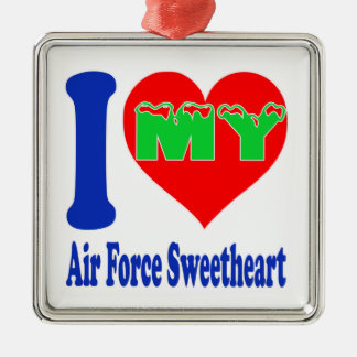 I love my Air Force Sweetheart. Square Metal Christmas Ornament