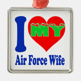 I love my Air Force Wife Silver-Colored Square Decoration