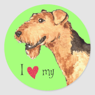 I Love my Airedale Round Sticker