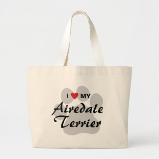 I Love My Airedale Terrier Large Tote Bag