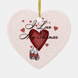I Love My Airman Ceramic Heart Decoration