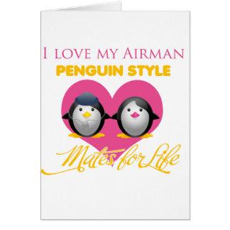 I Love My Airman Penguin Style Card