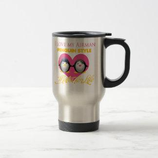 I Love My Airman Penguin Style Mugs