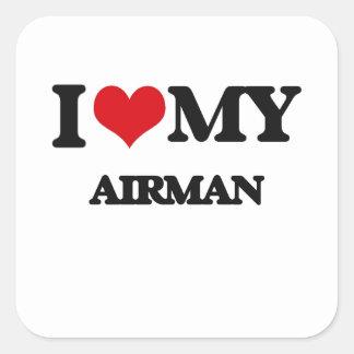 I love my Airman Square Sticker