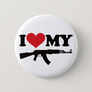 I Love My AK47 6 Cm Round Badge