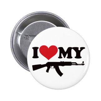 I Love My AK47 6 Cm Round Badge