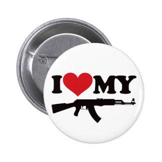 I Love My AK47 Pinback Button